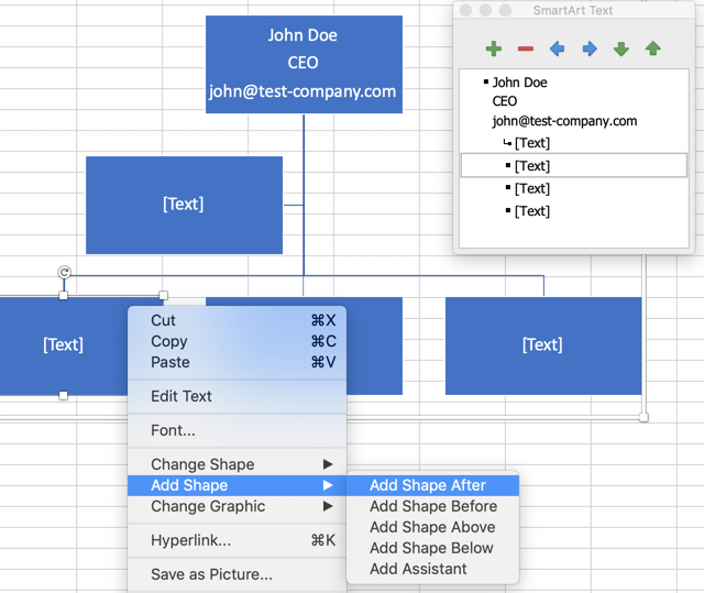 Add or remove shapes in organization structure
