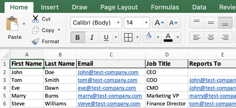 Add employees to the org chart template