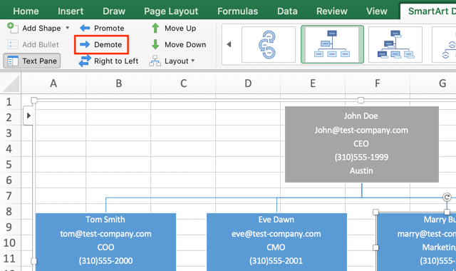 Style employee data in the org chart